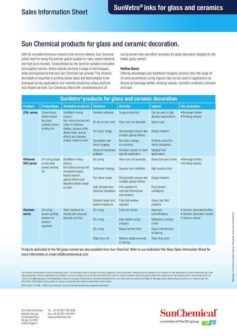 Referencias Tintas para vidrio y cerámica SunVetro de Sun Chemical - SERVILAN